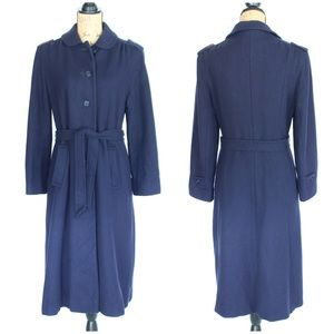 Vintage Plum Navy Wool Coat Sz SM